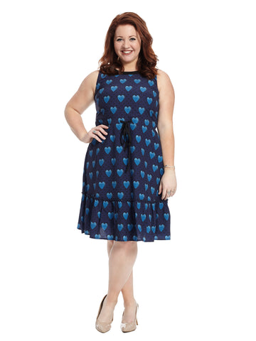 Drawstring Waist Heart Print Dress
