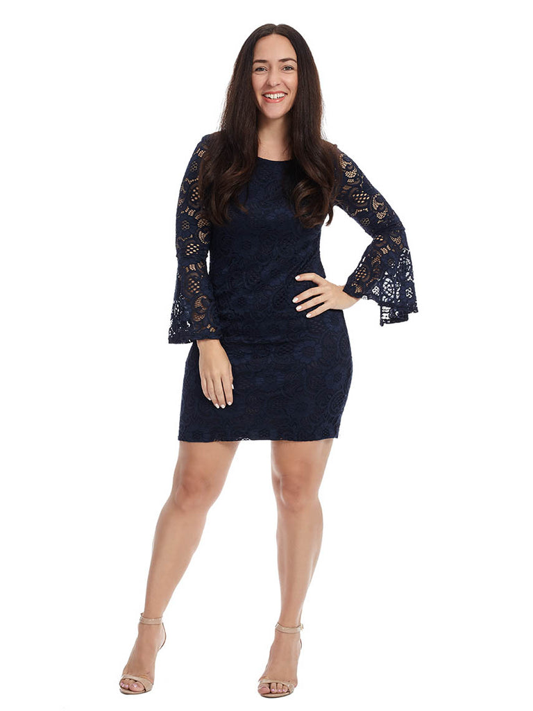 Navy Lace Dress With Bell Sleeves