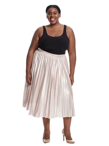 Pleated Lame Skirt
