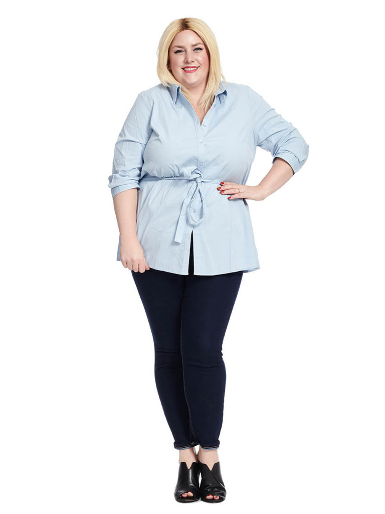 Button Front Tunic Shirt In Essential Blue