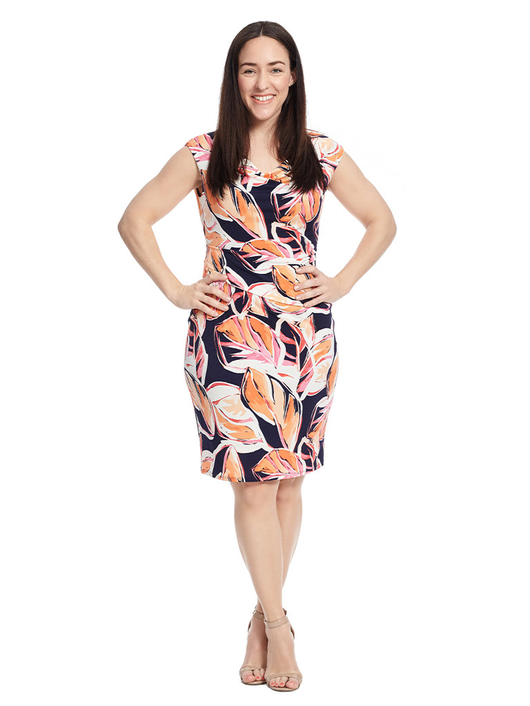 Drape Neck Side Tucked Sheath Dress In Leaf Print