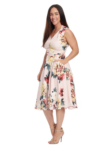 Tie Detail Blush Georgette Dress