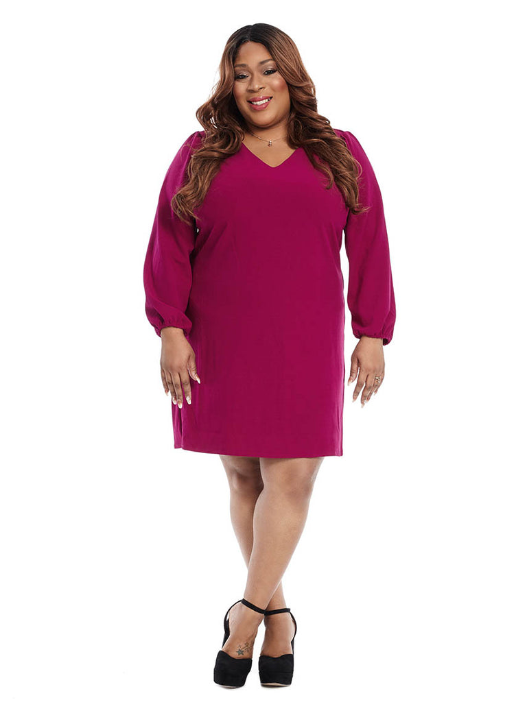V-Neck Shift Dress With Blouson Sleeves In Orchid