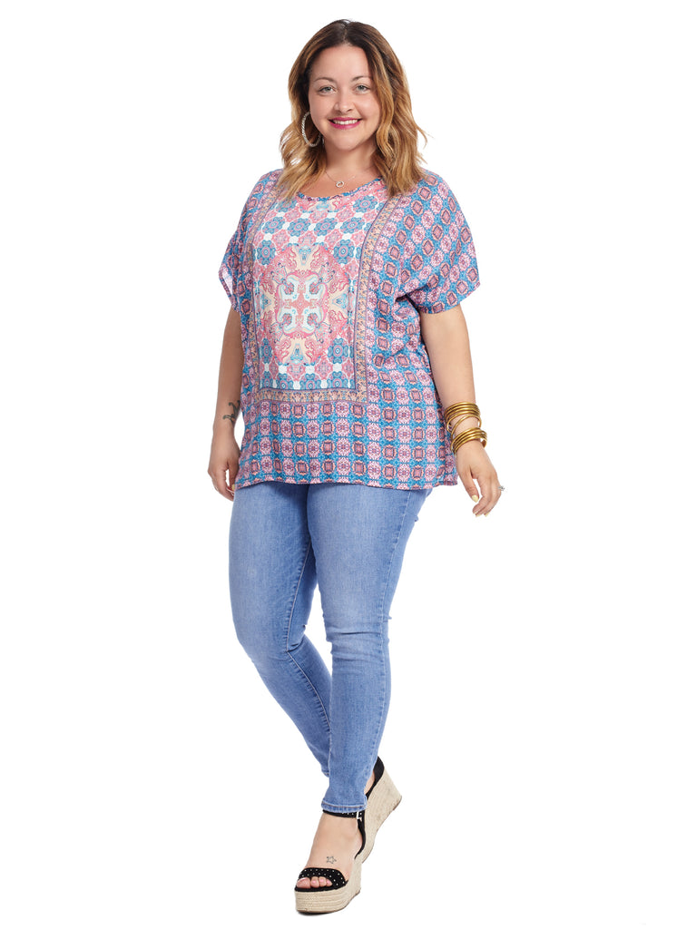 Short Sleeve Multi Print Tiffany Tunic Top