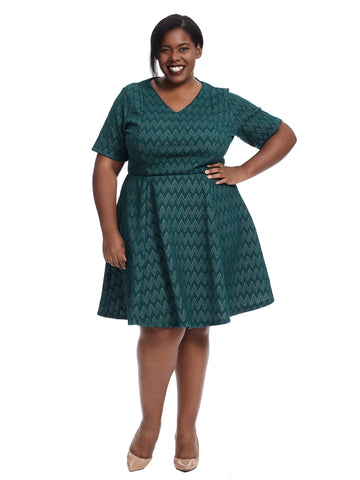 Short Sleeve Green Fit And Flare Dress