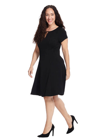 Fit And Flare Dress In Black