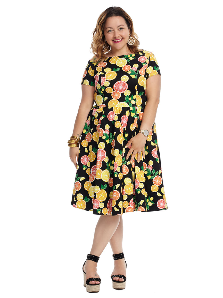 Short Sleeve Citrus Print Fit And Flare Dress