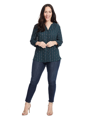 Pintuck Blouse In Admiral Floret