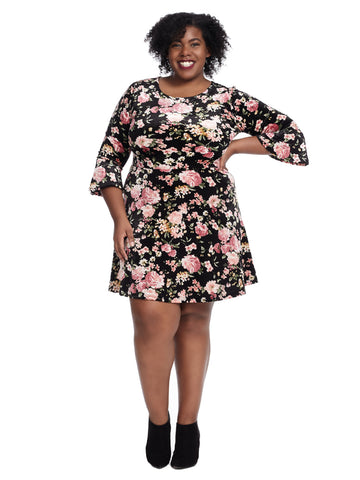 Bell Sleeve Dress In Black Mauve Floral Print