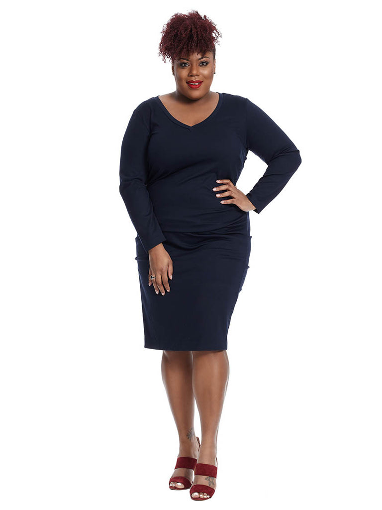 Long Sleeve V-Neck Dress In Navy