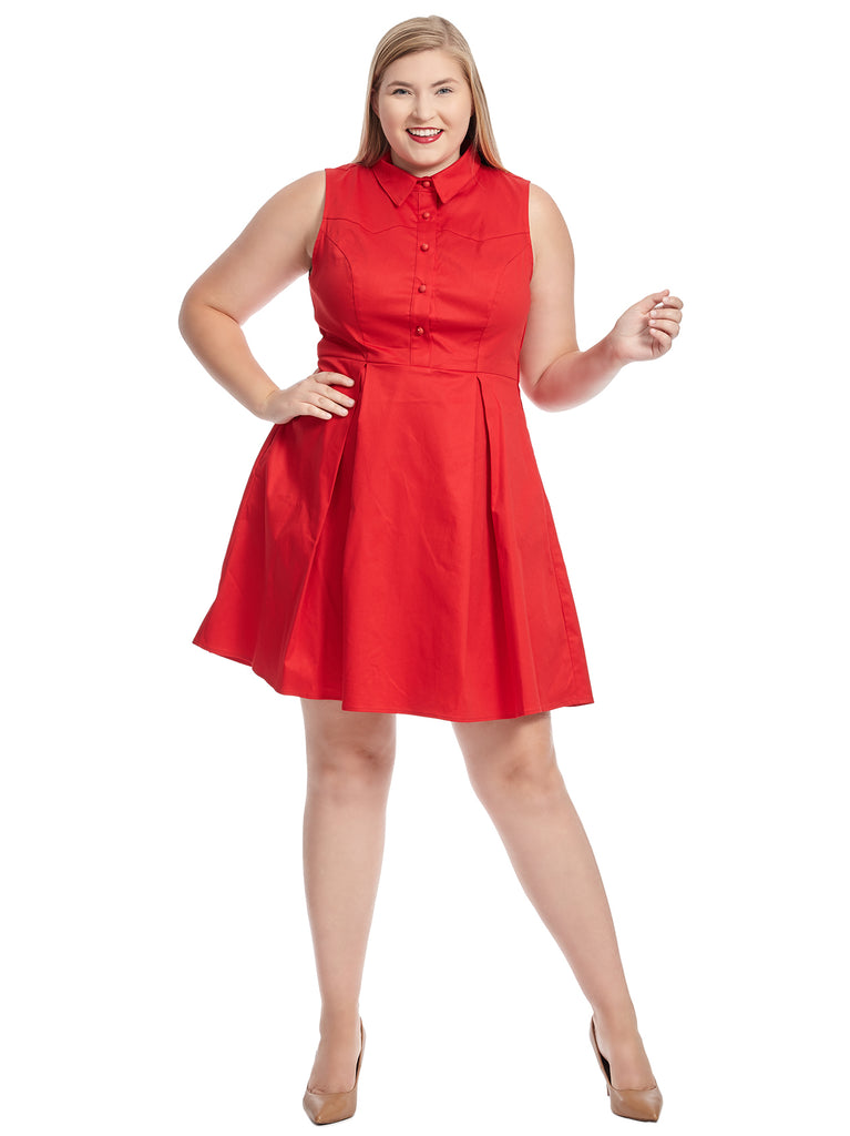 Sleeveless Red Shirt Dress