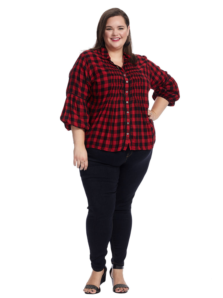 Red Maiden Plaid Paris Top