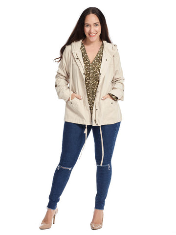 Drawstring Jacket In Khaki