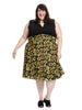 Sunflower Print Mixed Media Dress