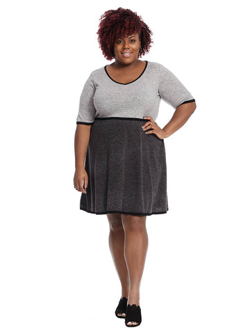 Colorblock Fit And Flare Dress In Grey And Black
