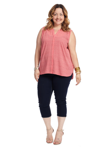 Sleeveless Pintuck Top In Pink Clover Dots Print
