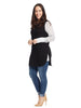 Black And Grey Mock Vest Top With Long Sleeves