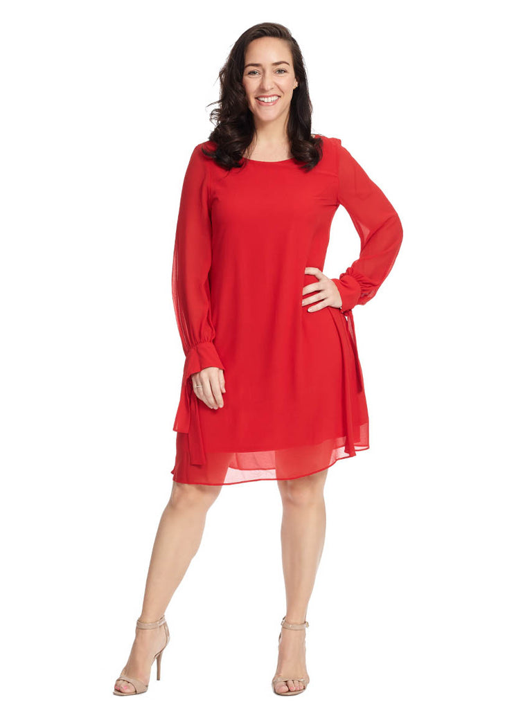 Tie Sleeve Dress In Crimson