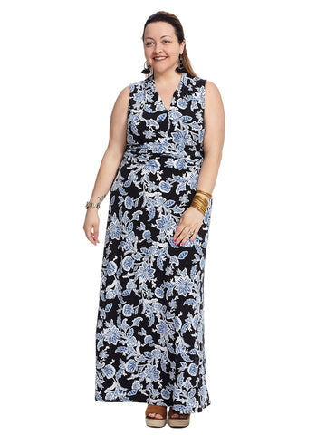 Sleeveless Exotic Woodblock Floral Maxi Dress