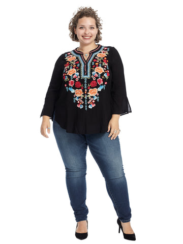 Three-Quarter Sleeve Embroidered Black Top