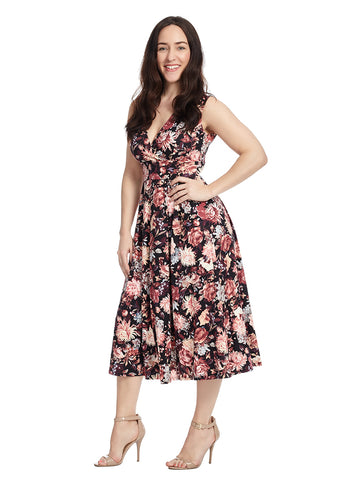 Sleeveless Faux Wrap Midi Dress In Navy Floral Print