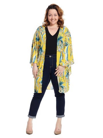 Flare Sleeve Yellow And Green Print Kimono