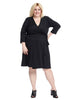 V-Neck Wrap Dress in Black