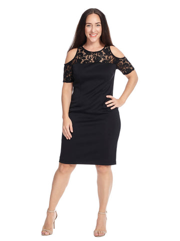 Lace Cold Shoulder Dress In Black