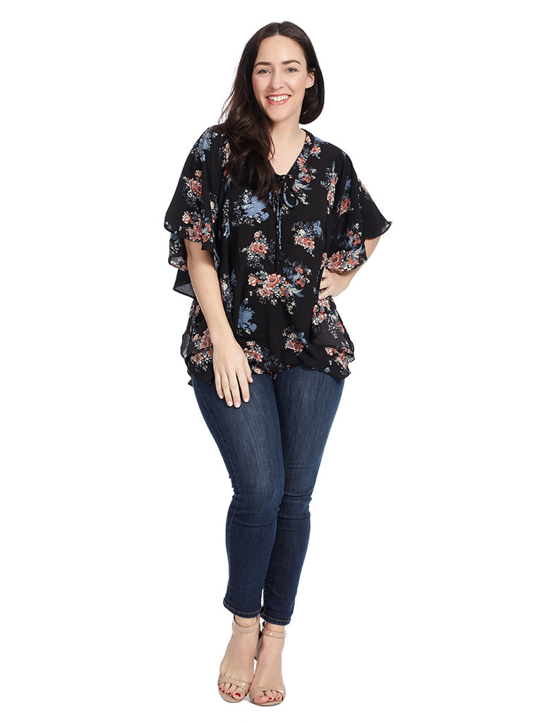 Ruffled Top With Lace Detail In Black Floral Print