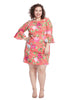Bell Sleeve Pink Floral Print Shift Dress