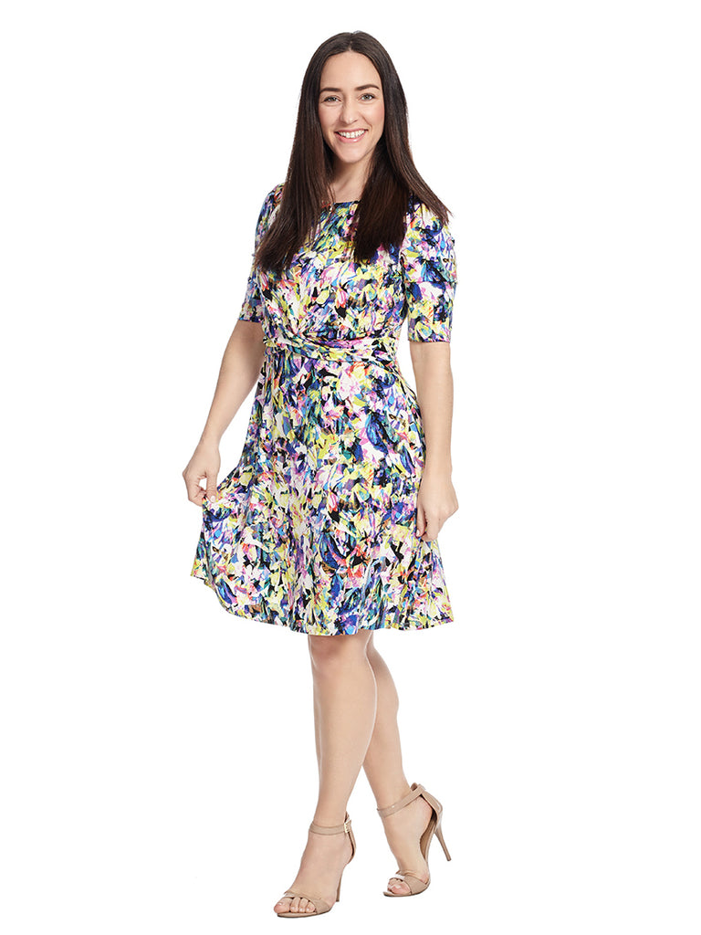 Short Sleeve Floral Techno Fit And Flare Dress