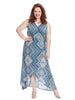 Sleeveless True Wrap Blue Print Annette Dress