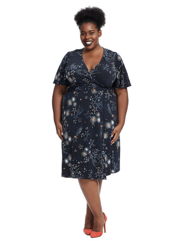 Stars Print Flutter Sleeve Faux Wrap Dress