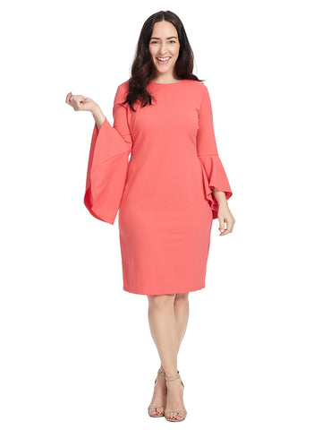 Flared Sleeve Sheath Dress In Pink
