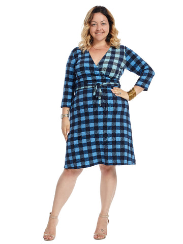 Blue Plaid Perfect Faux Wrap Dress
