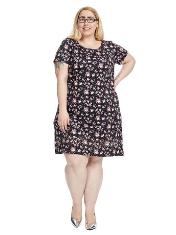 Short Sleeve Shift Dress In Floral Multi
