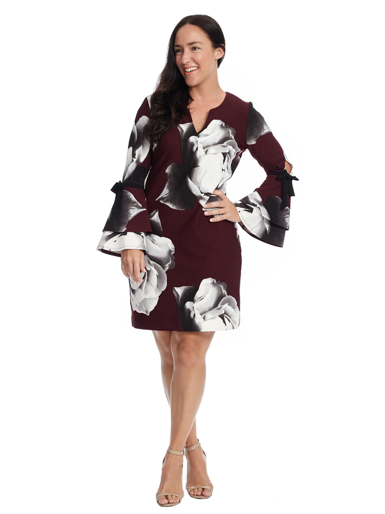 Tiered Sleeve Rose Printed Scuba Shift Dress