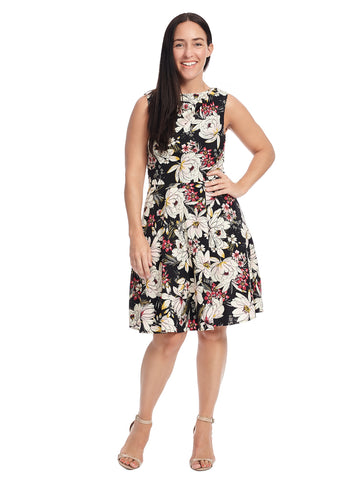 Sleeveless Floral Fit And Flare Dress