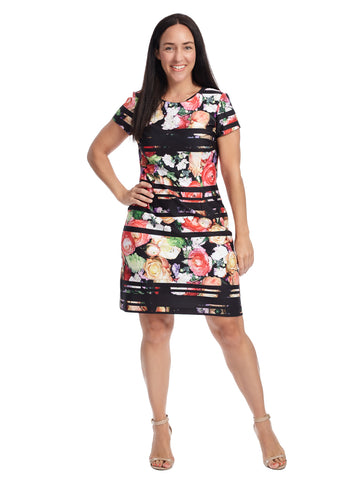 Striped Botanical Scuba A-Line Dress
