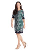 Elbow Sleeves Shift Dress In Navy And Green Print