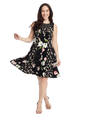 Crepe Floral Dress With Lace Neck