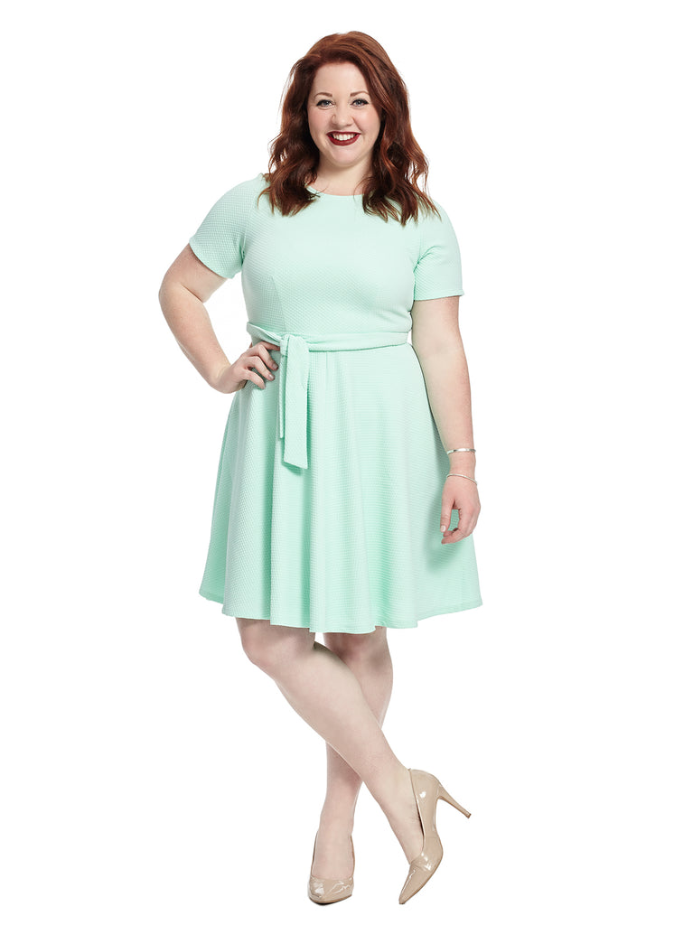 Tie Detail Fit And Flare Dress In Mint