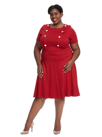 Button Front Red Fit And Flare Dress