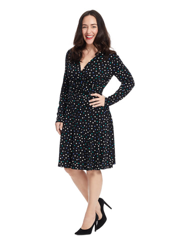 Long Sleeve Black Polka Dot Dress