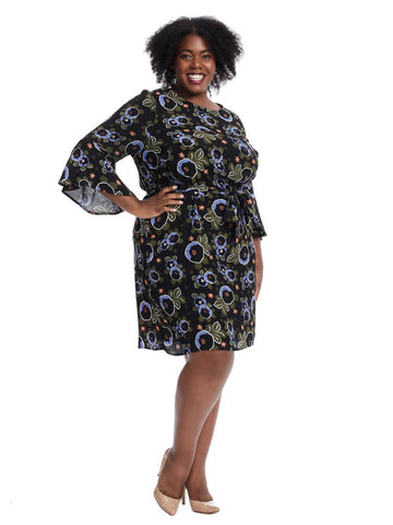Mojave Floral Flared Sleeve Dress