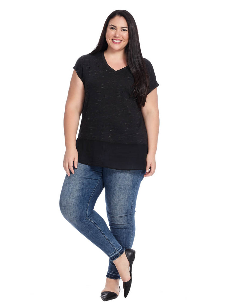 Tee With Ciffon Hem In Black