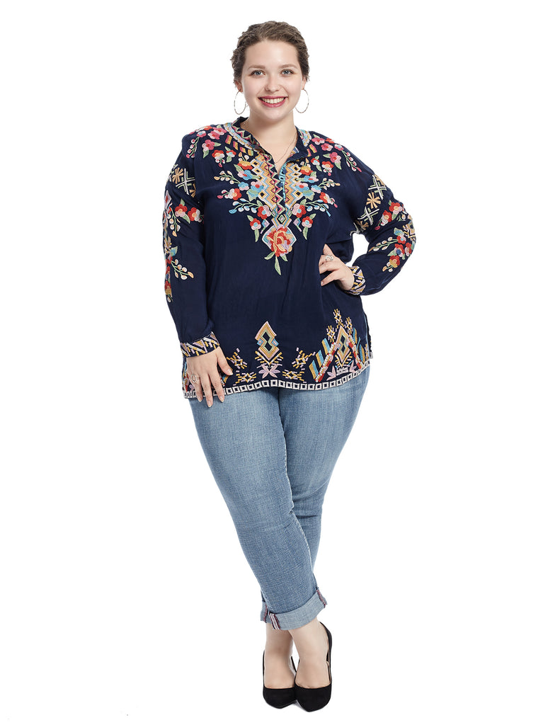 Long Sleeve Floral Embroidered Blue Top