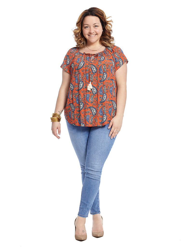 Multi Paisley Print Peasant Top