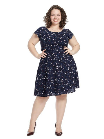 Navy Floral Tie Waist Dress