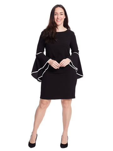 Asymmetrical Bell Sleeve Shift Dress In Black